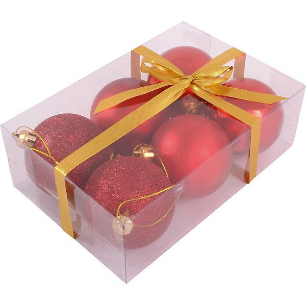 Волшебная Страна Набор елочных шаров Magic Land красный, 6 штук волшебная страна набор елочных шаров magic land 6 шт 6 см розовые