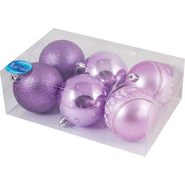 Волшебная Страна Набор елочных шаров Magic Land фиолетовый, 6 штук