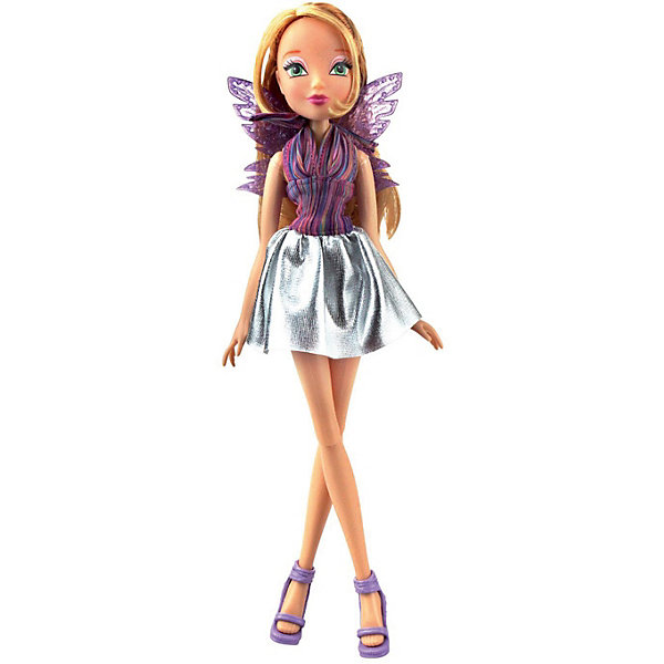 Winx Club Кукла Winx Club Рок-н-ролл Флора white slit design round neck long sleeves crop top