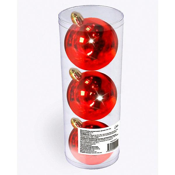 B&H Набор елочных шаров 3 шт, 9 см., красные