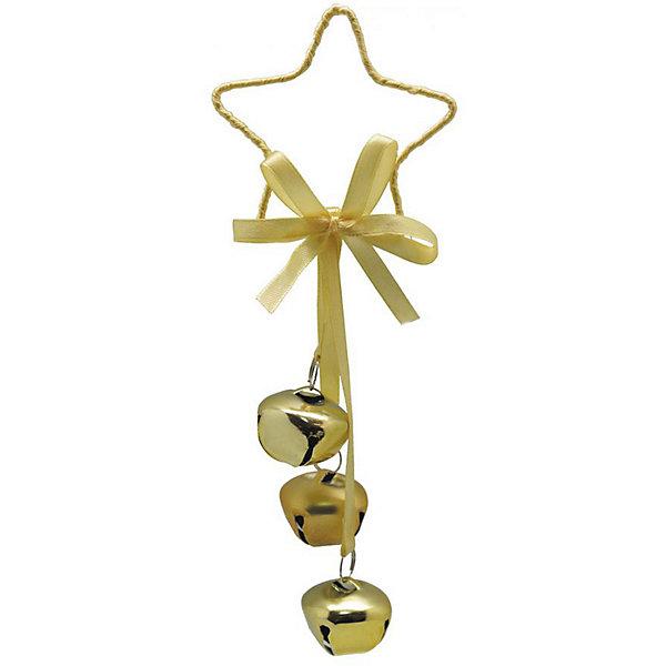 B&H Украшение на ёлку Звезда с тремя бубенчиками, 21 см золотое