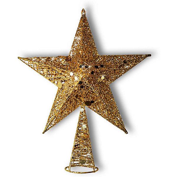 B&H Верхушка на ёлку B&H Звезда новогодняя, золотая ель новогодняя с украшением h 75см упаковочный пакет