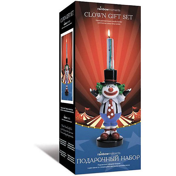 - Подарочный набор Rainbow Moments со стекающими разноцетными каплями оска и подсечник форме Клоуна