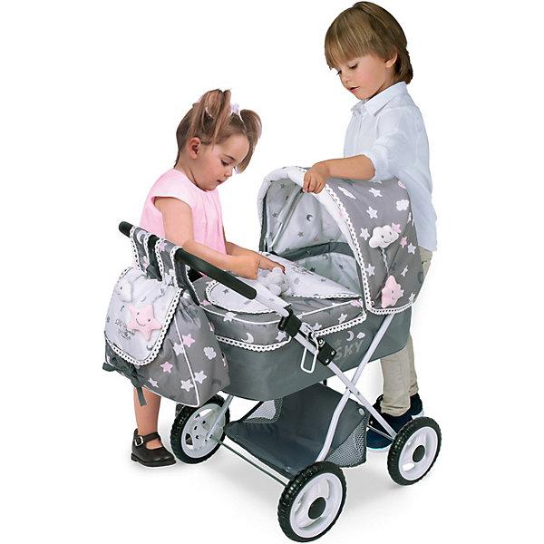Купить Коляска для кукол DeCuevas Скай с рюкзаком и зонтиком, 60 см, Китай, серый, Женский
