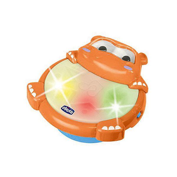 CHICCO Музыкальный тамбурин Chicco Гиппопотам chicco развивающая игрушка тамбурин