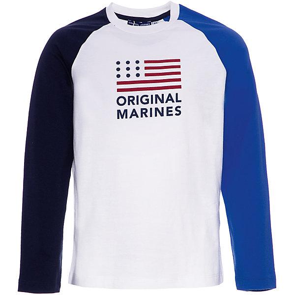 Футболка с длинным рукавом Original Marines для мальчикаФутболки с длинным рукавом<br>Характеристики:<br><br>• состав ткани: 100% хлопок<br>• сезон: демисезон<br>• застёжка: без застёжки<br>• футболка с длинным рукавом<br>• декорирована принтом<br>• страна бренда: Италия<br><br>Футболка с контрастными рукавами разных цветов, спереди декорирована принтом и брендовой надписью. На горловине мягкий кант, который не натирает. Выполнена из натурального и дышащего материала и имеет свободный крой.