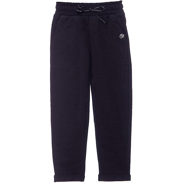 Спортивные брюки Original Marines для девочкиБрюки<br>Характеристики товара:<br><br>• цвет: чёрный;<br>• состав: 100% хлопок;<br>• сезон: демисезон;<br>• застёжка: брюки на резинке, шнурок-завязка;<br>• спортивная модель;<br>• манжеты брючин с отворотом;<br>• мягкая эластичная резинка на талии;<br>• карманы;<br>• страна бренда: Италия.<br><br>Спортивные брюки сделаны из дышащего материала. Дополнены карманами. Брюки на мягкой эластичной резинке. Обхват талии регулируется при помощи шнурка-завязки. Брюки обеспечат ребенку комфорт, благодаря продуманному крою. Детские брюки комфортно сидят, не вызывают неудобств.