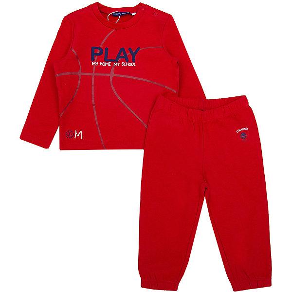 Спортивный костюм Original MarinesСпортивные костюмы<br>Характеристики товара:<br><br>• цвет: красный;<br>• состав: 100% хлопок;<br>• сезон: демисезон;<br>• застёжка: брюки на резинке;<br>• эластичная резинка на манжетах рукавов, горловине и по низу изделия;<br>• эластичная резинка на талии и на манжетах брючин;<br>• декорирован принтом;<br>• страна бренда: Италия.<br><br>Спортивный костюм для мальчика выполнен из дышащего материала. Брюки на мягкой эластичной резинке на талии и на манжетах по низу брючин, дополнены небольшим принтом. Кофта декорирована принтом, манжеты и низ изделия на мягкой эластичной резинке.