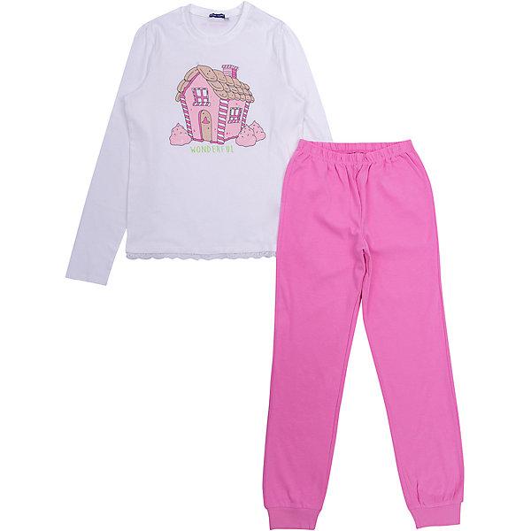 Пижама Original MarinesПижамы и сорочки<br>Характеристики товара:<br><br>• цвет: белый/розовый;<br>• состав: 100% хлопок;<br>• сезон: круглый год;<br>• в комплекте: футболка с длинным рукавом, брюки;<br>• брюки на мягкой эластичной резинке;<br>• манжеты брючин на мягкой эластичной резинке;<br>• декорирована принтом;<br>• страна бренда: Италия.<br><br>Пижама для девочки состоит из футболки с длинным рукавом и брюк. Футболка свободного кроя, дополнена принтом спереди. Брюки на мягкой эластичной резинке на талии и на манжетах, брюки однотонные.