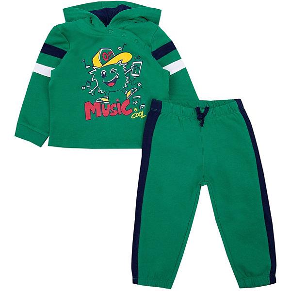 Спортивный костюм Original MarinesСпортивные костюмы<br>Характеристики товара:<br><br>• цвет: зелёный;<br>• состав: 100% хлопок;<br>• сезон: демисезон;<br>• застёжка: брюки на резинке;<br>• эластичная резинка на манжетах рукавов и по низу изделия;<br>• эластичная резинка на талии и на манжетах брючин;<br>• кофта с капюшоном;<br>• декорирован принтом;<br>• страна бренда: Италия.<br><br>Спортивный костюм для мальчика выполнена из натурального дышащего хлопка. Брюки на мягкой эластичной резинке на талии и на манжетах по низу брючин, дополнены контрастными лампасами. Кофта декорирована принтом, манжеты и низ изделия на мягкой эластичной резинке.