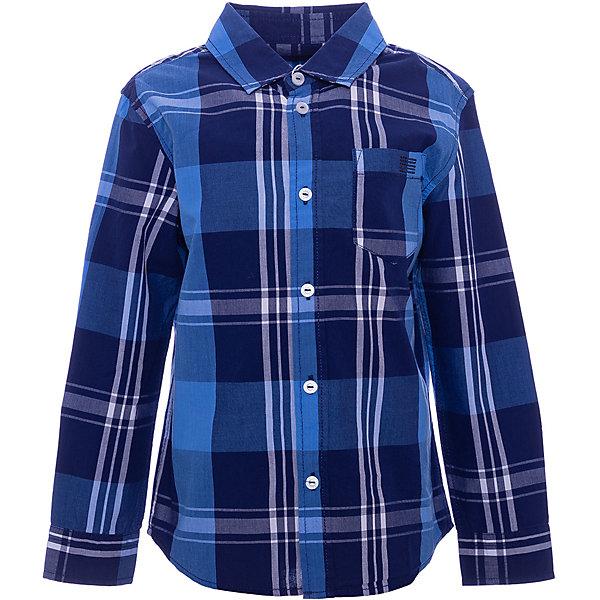 Сорочка Original Marines для мальчикаБлузки и рубашки<br>Характеристики товара:<br><br>• цвет: синяя клетка;<br>• состав: 100% хлопок;<br>• сезон: круглый год;<br>• застёжка: пуговицы;<br>• особенности: повседневная;<br>• рубашка с длинным рукавом;<br>• манжеты рукавов на пуговице;<br>• накладной нагрудный карман;<br>• страна бренда: Италия.<br><br>Рубашка с длинным рукавом для мальчика. Рубашка застёгивается на пуговицы, манжеты рукавов на пуговице. Воротник-стойка, имеется накладной нагрудный карман.