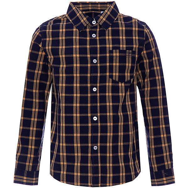 Сорочка Original Marines для мальчикаБлузки и рубашки<br>Характеристики:<br><br>• состав ткани: 100% хлопок<br>• сезон: круглый год<br>• застёжка: пуговицы<br>• особенности: повседневная<br>• рубашка с длинным рукавом<br>• манжеты рукавов на пуговицах<br>• накладной нагрудный карман<br>• страна бренда: Италия<br><br>Рубашка с отложным воротничком-стойкой выполнена из натуральной и дышащей ткани. Крой чуть приталенный, но совершенно не сковывает движений. Манжеты рукавов на двух пуговицах с возможностью подворота.