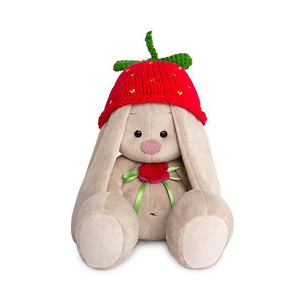 Budi Basa Мягкая игрушка Зайка Ми в вязаной шапке Клубничка, 18 см
