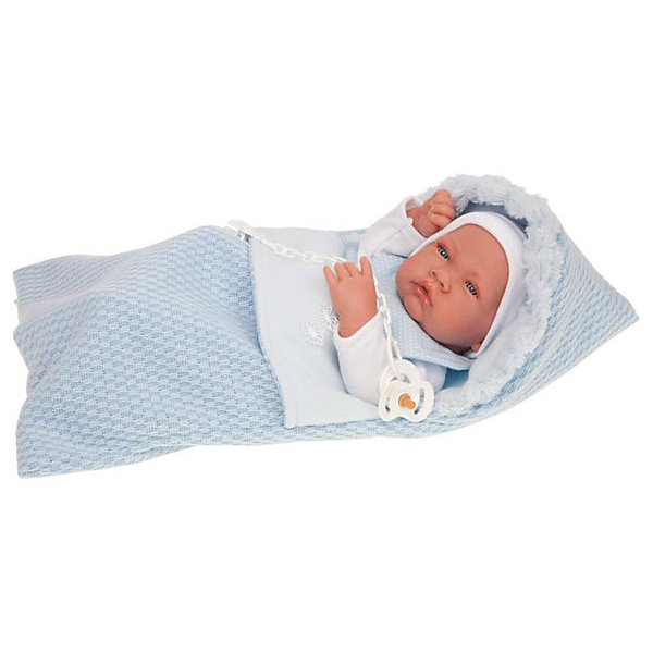 Купить Кукла-младенец Juan Antonio Munecas Нестор в голубом, 42 см, Munecas Antonio Juan, Испания, голубой, Женский
