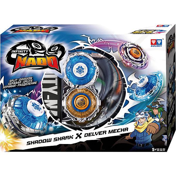 Волчок Auldey Infinity Nado Сплит, Shark&MechaВолчки и игровые арены<br>Характеристики:<br><br>• материал: пластик<br>• в комплекте: 2 волчка, 2 пускателя, 2 ленты для запуска, монтажный инструмент, инструкция<br>• длина лент для запуска: 28 см<br>• серия: Сплит<br>• упаковка: картонная коробка с окошком<br>• вес в упаковке: 345 гр<br>• размер в упаковке: 20х28х7 см<br>• страна бренда: Великобритания<br><br>Каждый волчок в наборе обладает своей силой. Один вращается непредсказуемо и интенсивно, а второй обладает повышенной выносливостью и вращается дольше других. Также их можно объединить в один суперволчок, образуя непобедимый тандем. Все волчки серии Сплит совместимы друг с другом и можно объединять любые из них. Выполнены из качественных и безопасных материалов.