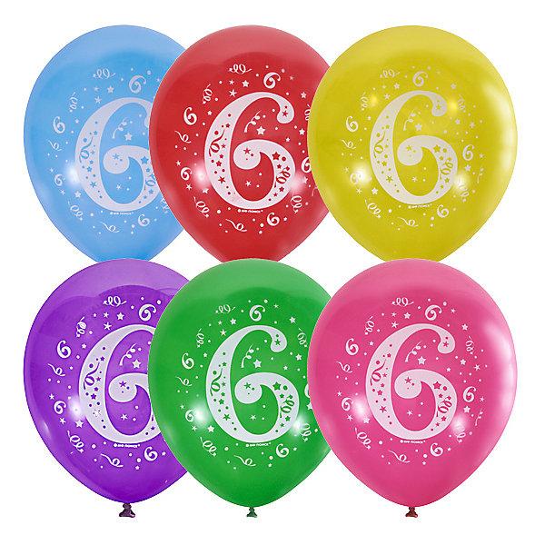 Latex Occidental Воздушные шары Цифра Шесть 10 шт, пастель + декоратор