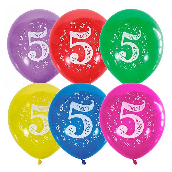Latex Occidental Воздушные шары Цифра Пять 10 шт, пастель + декоратор