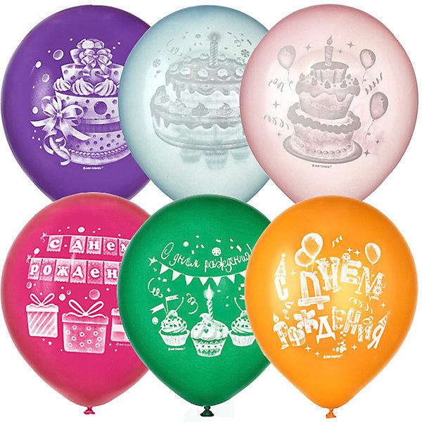 Купить Воздушные шары Latex Occidental Торт С Днём Рождения 50 шт, металлик, Мексика, разноцветный, Унисекс