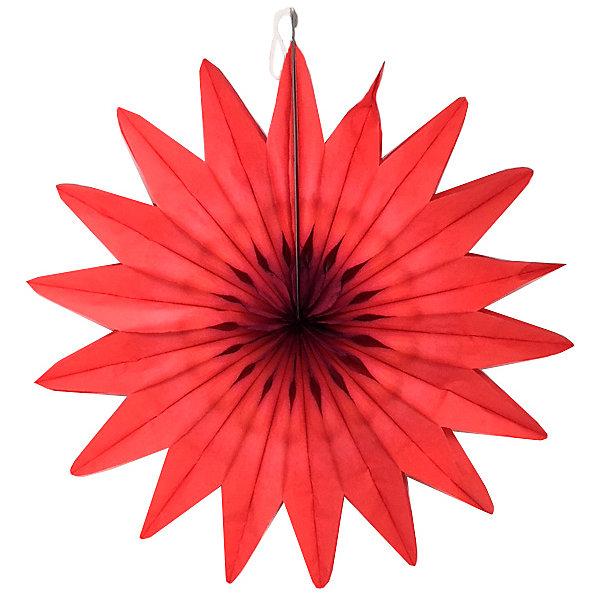 Патибум Бумажное украшение Патибум Цветок 50 см, красный украшение елочное шар красный с блестками 13 см красный полимерный материал