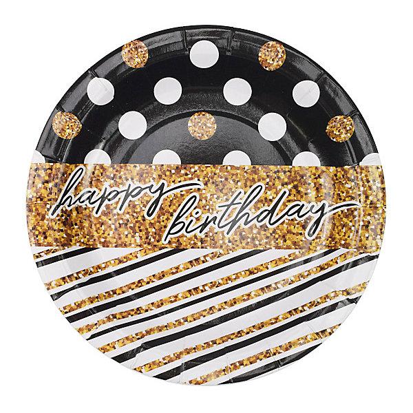 Патибум Тарелки Патибум Happy Birthday Голливуд 6 шт., 18 см патибум набор для фотосессии патибум мексиканская вечеринка 11 шт