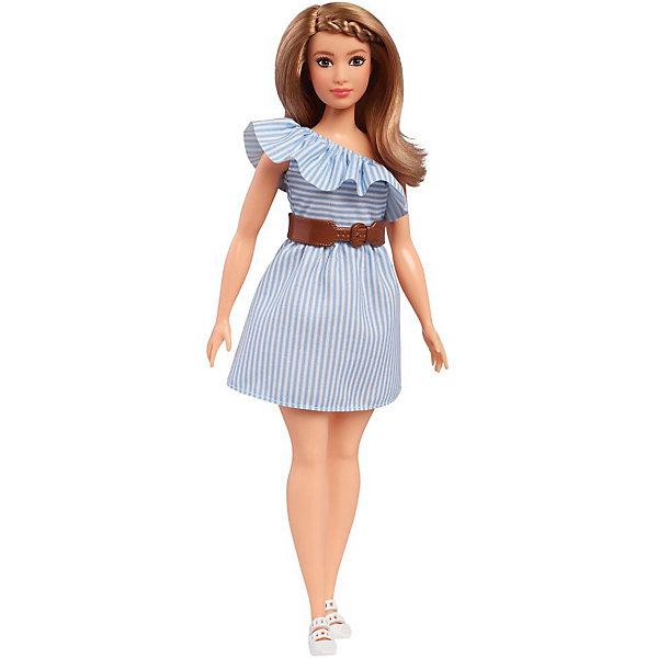 Mattel Кукла Barbie Игра с модой в голубом платье в полоску, 29 см