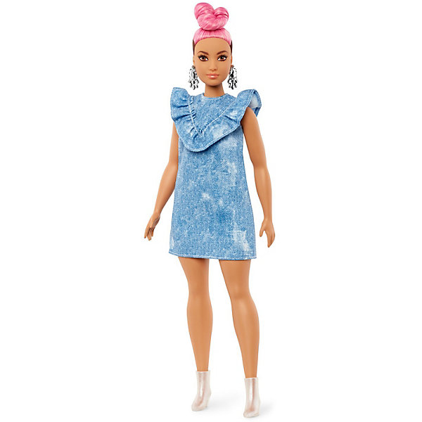 Mattel Кукла Barbie Игра с модой в джинсовом платье и с розовыми волосами, 29 см