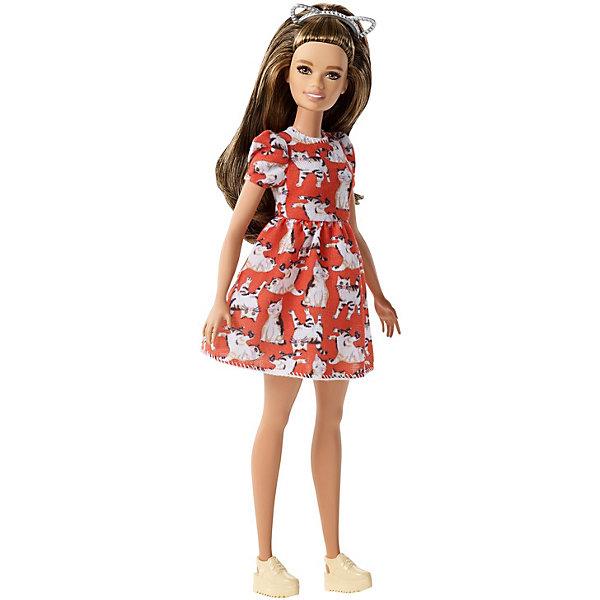 Mattel Кукла Barbie Игра с модой в красном платье с кошками, 29 см