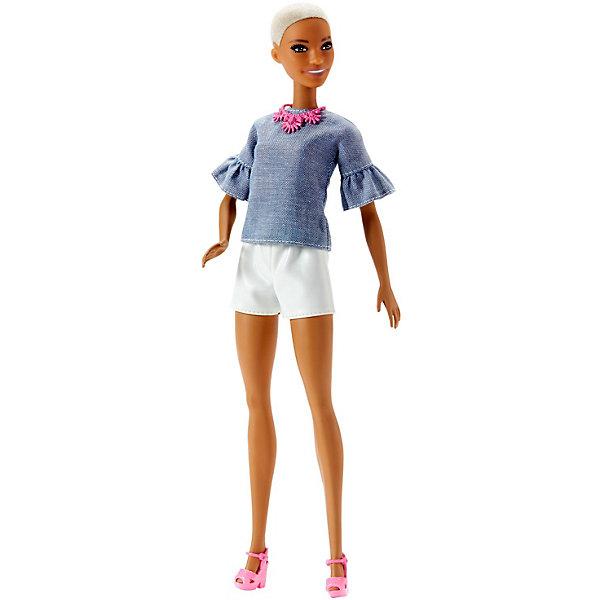 Mattel Кукла Barbie Игра с модой в джинсовом топе и белых шортах, 29 см mattel кукла barbie игра с модой в топе и в сарафане с сердечками 29 см