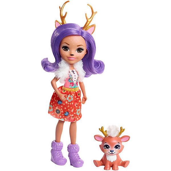 Mattel Мини-кукла Enchantimals с любимой зверюшкой, Данесса Оленни и оленёнок Спринт, 15 см кукла enchantimals со зверушкой и тематическим набором fcc62 праздник фламинго