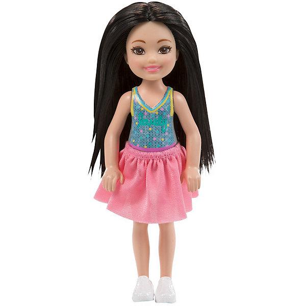 Mattel Мини-кукла Barbie Клуб Челси в розовой юбке, 13,5 см
