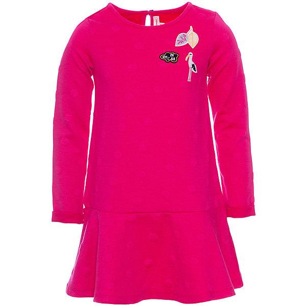 Платье Catimini для девочкиПлатья и сарафаны<br>Характеристики:<br><br>• цвет: фуксия;<br>• состав: 100% полиэстер;<br>• сезон: демисезон;<br>• застёжка: пуговица сзади на горловине;<br>• особенности: повседневное;<br>• платье с длинным рукавом;<br>• декорировано принтом;<br>• страна бренда: Франция.<br><br>Платье с длинными рукавами, с эффектом жаккарда, с принтом на груди. Круглый воротник, застёгивается на пуговку на горловине сзади. Юбка в венчик. Надпись Catimini.
