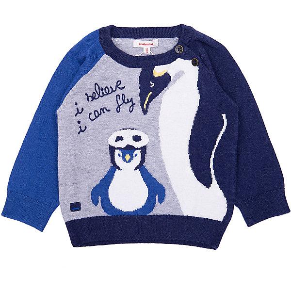Пуловер Catimini для мальчикаСвитеры и кардиганы<br>Характеристики:<br><br>• цвет: серый;<br>• состав: 30% полиамид, 30% вискоза, 20% акрил, 20% шерсть;<br>• сезон: демисезон;<br>• застёжка: пуговицы на плече;<br>• особенности: вязаный;<br>• манжеты, горловина и низ изделия на мягкой эластичной резинке;<br>• декорирован принтом;<br>• страна бренда: Франция.<br><br>Теплый шерстяной свитер для мальчика.  Большой жаккардовый рисунок с изображением пингвина с деталями 3D – очки пингвина. Контрастные синие фьордовые рукава. Круглая шея, застёгивается на две пуговицы на плече. Надпись Catimini.