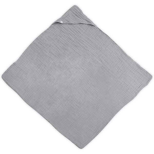 цена jollein Муслиновое полотенце с капюшоном Jollein, 100х100 см (Серый) онлайн в 2017 году