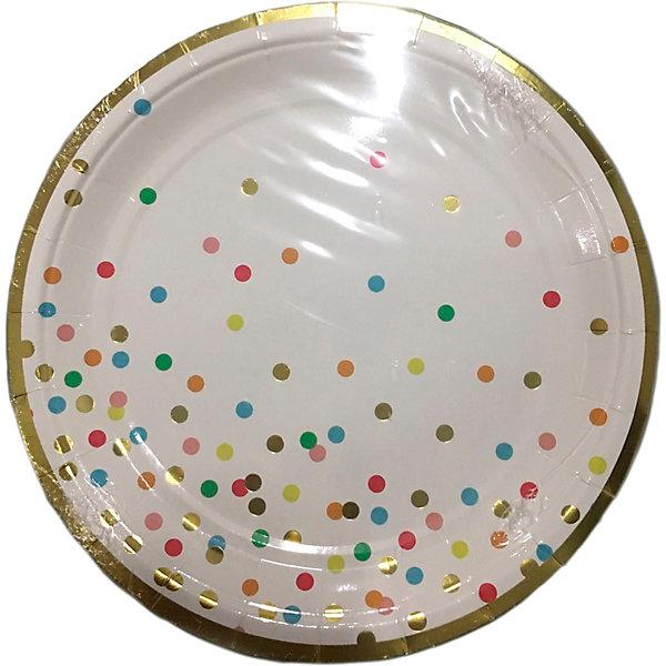 Феникс-Презент Тарелки Феникс-Презент Белые с разноцветными кружочками, 23 см, 6 шт. ваза декоративная феникс презент высота 22 3 см