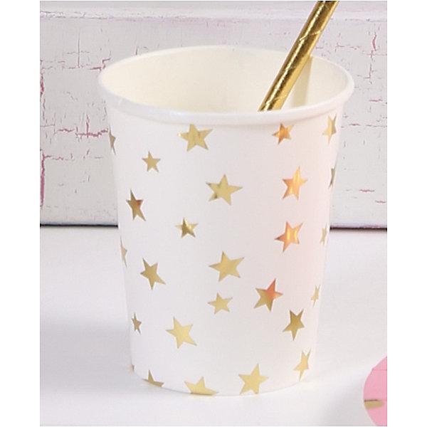 Феникс-Презент Стаканы Белые с золотыми звездами, 250 мл, 6 шт.