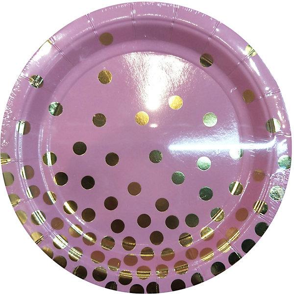 Феникс-Презент Тарелки Феникс-Презент Розовые с золотыми кружочками, 18 см, 6 шт.. феникс презент тарелки феникс презент белые с золотыми зигзагами 18 см 6 шт