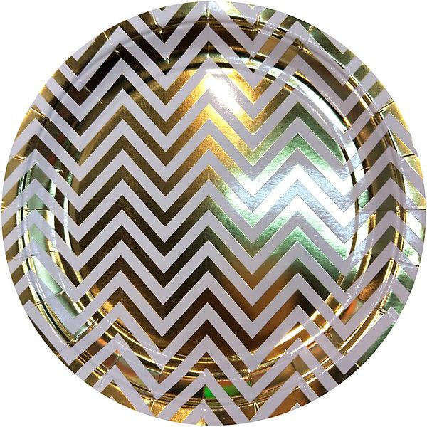 Купить Тарелки Феникс-презент Белые с золотыми зигзагами, 18 см, 6 шт., Феникс-Презент, Китай, Унисекс
