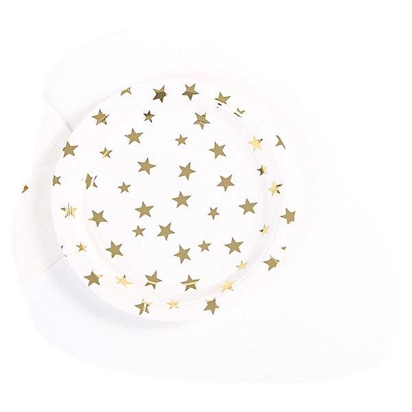 Феникс-Презент Тарелки Феникс-Презент Белые с золотыми звездами, 23 см, 6 шт. феникс презент тарелки феникс презент белые с золотыми зигзагами 18 см 6 шт