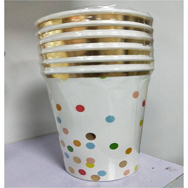 Феникс-Презент Стаканы Белые с разноцветными кружочками, 250 мл, 6 шт.