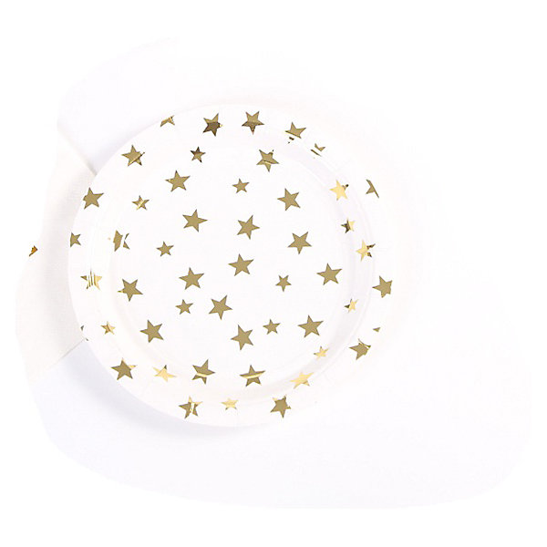 Феникс-Презент Тарелки Феникс-Презент Белые с золотыми звездами, 18 см, 6 шт. феникс презент тарелки феникс презент белые с золотыми зигзагами 18 см 6 шт