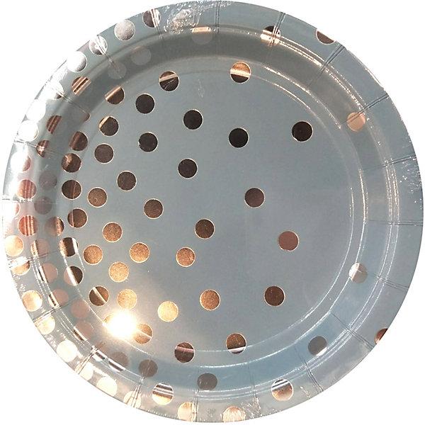Феникс-Презент Тарелки Голубые с серебряными кружочками, 23 см, 6 шт.