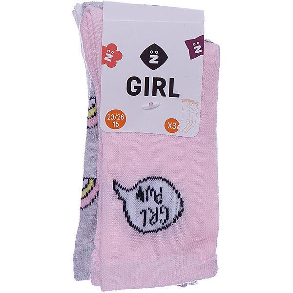 Z Носки, 3 пары Z для девочки носки женские puma sneaker plain цвет белый розовый 3 пары 90680704 размер 39 42