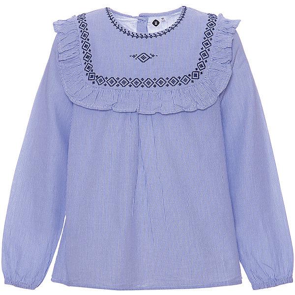 Блузка Z для девочкиБлузки и рубашки<br>Характеристики:<br><br>• цвет: синий;<br>• состав: 100% хлопок;<br>• сезон: круглый год;<br>• застёжка: пуговицы на спинке;<br>• особенности: повседневная, школьная;<br>• блузка с длинным рукавом;<br>• манжеты на мягкой эластичной резинке;<br>• декорирована принтом и оборками;<br>• страна бренда: Франция.<br><br>Блузка для девочки от французского бренда Zet (Зет). Блузка в сине-белую полоску Эластичные длинные рукава. Вышитый нагрудный знак, ограниченный рулевым колесом. Застёгивается на три пуговицы на спинке для удобства надевания.