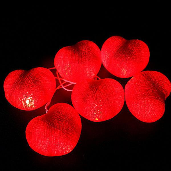 Гирляндус Гирлянда электрическая LED Гирляндус Красные сердечки на батарейках, 1,5 м гирлянда электрическая гирляндус пудинг из ниток led от батареек 20 ламп 3 м
