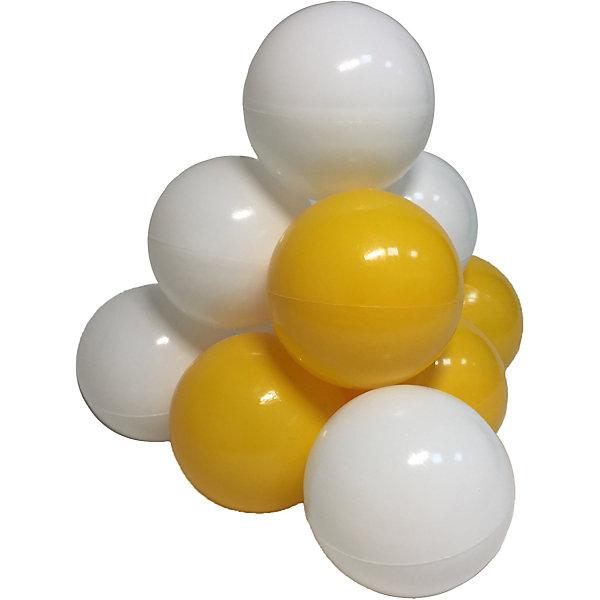 Hotenok Комплект шариков для сухого бассейна Мыльные пузыри 50 шт, жёлтые и белые