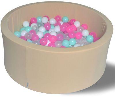 Сухой игровой бассейн Hotenok  Ванильное мороженое  40 см, 200 шариков, артикул:9633858 - Детская площадка
