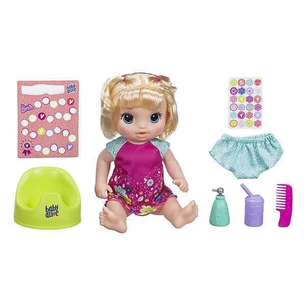 Интерактивная кукла Baby Alive Танцующая Малышка, блондинкаИдеи подарков<br>Характеристики товара:<br><br>• возраст: от 3 лет;<br>• материал: пластик, текстиль;<br>• в комплекте: кукла, горшок, бутылочка, трусики, жидкое мыло, расческа, наклейки;<br>• тип батареек: 4 батарейки АА;<br>• наличие батареек: в комплекте демонстрационные;<br>• размер упаковки: 40,6х38,1х12,1 см;<br>• вес упаковки: 1,669 кг.<br><br>Кукла Baby Alive «Танцующая малышка» - очаровательная интерактивная куколка с большими голубыми глазами, пухлыми щечками и мягкими светлыми волосами, которые можно расчесывать и заплетать. У куклы подвижные ручки и ножки.<br><br>Кукла произносит более 50 фраз и песенок. При помощи бутылочки куклу можно покормить, когда она захочет кушать. После кормления она предупредит, что пора в туалет, поэтому следует посадить ее на горшок. Помимо этого, очаровательная кукла умеет танцевать, стоит только взять ее за левую ручку.