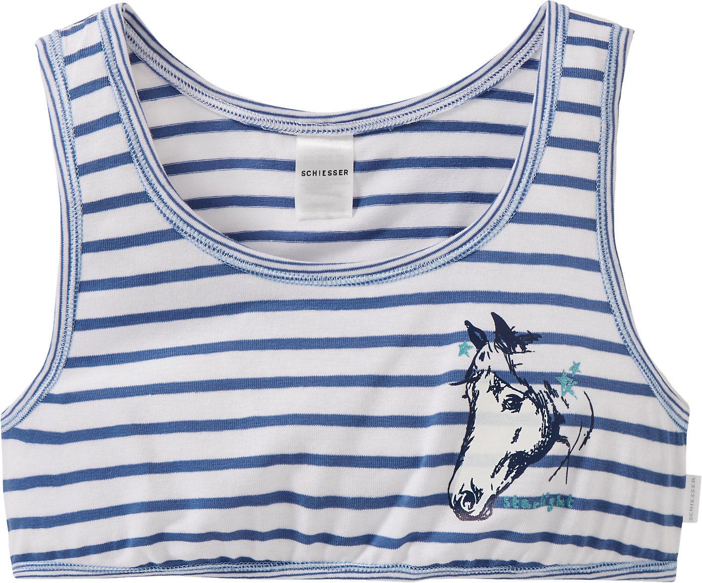 blau NEU Schiesser Set Doppelpack Unterhemd Mädchen fuchsia