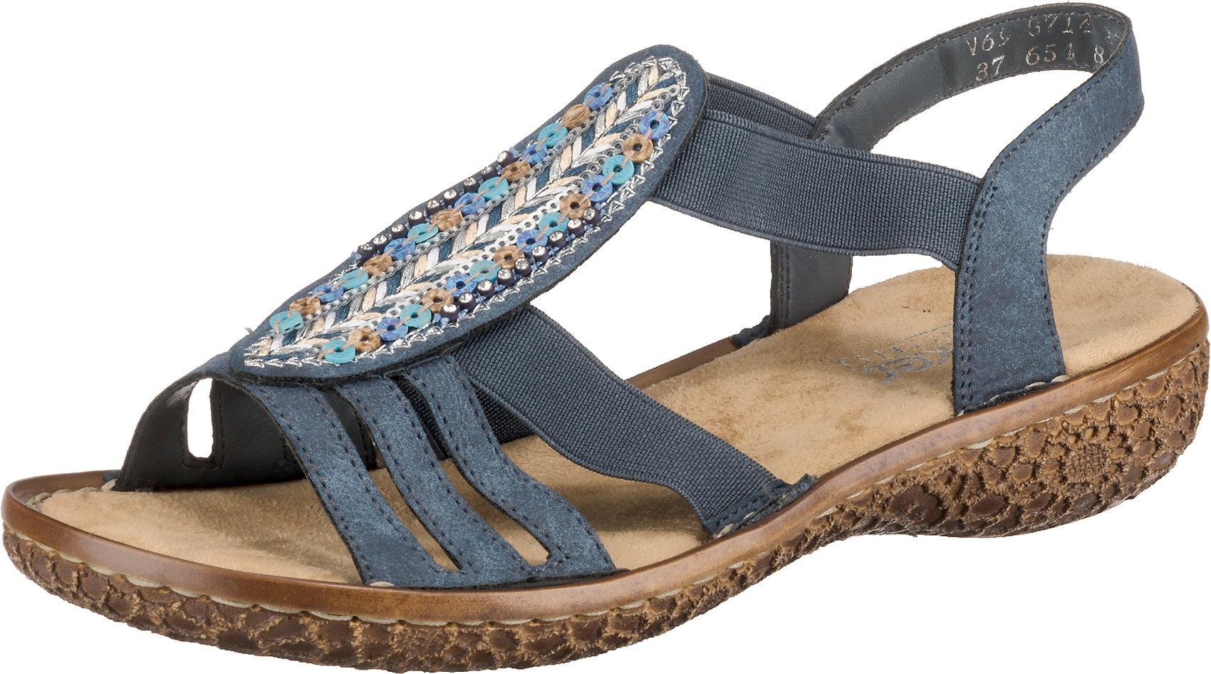Details zu Neu rieker Klassische Sandalen 10626287 für Damen blau kombi
