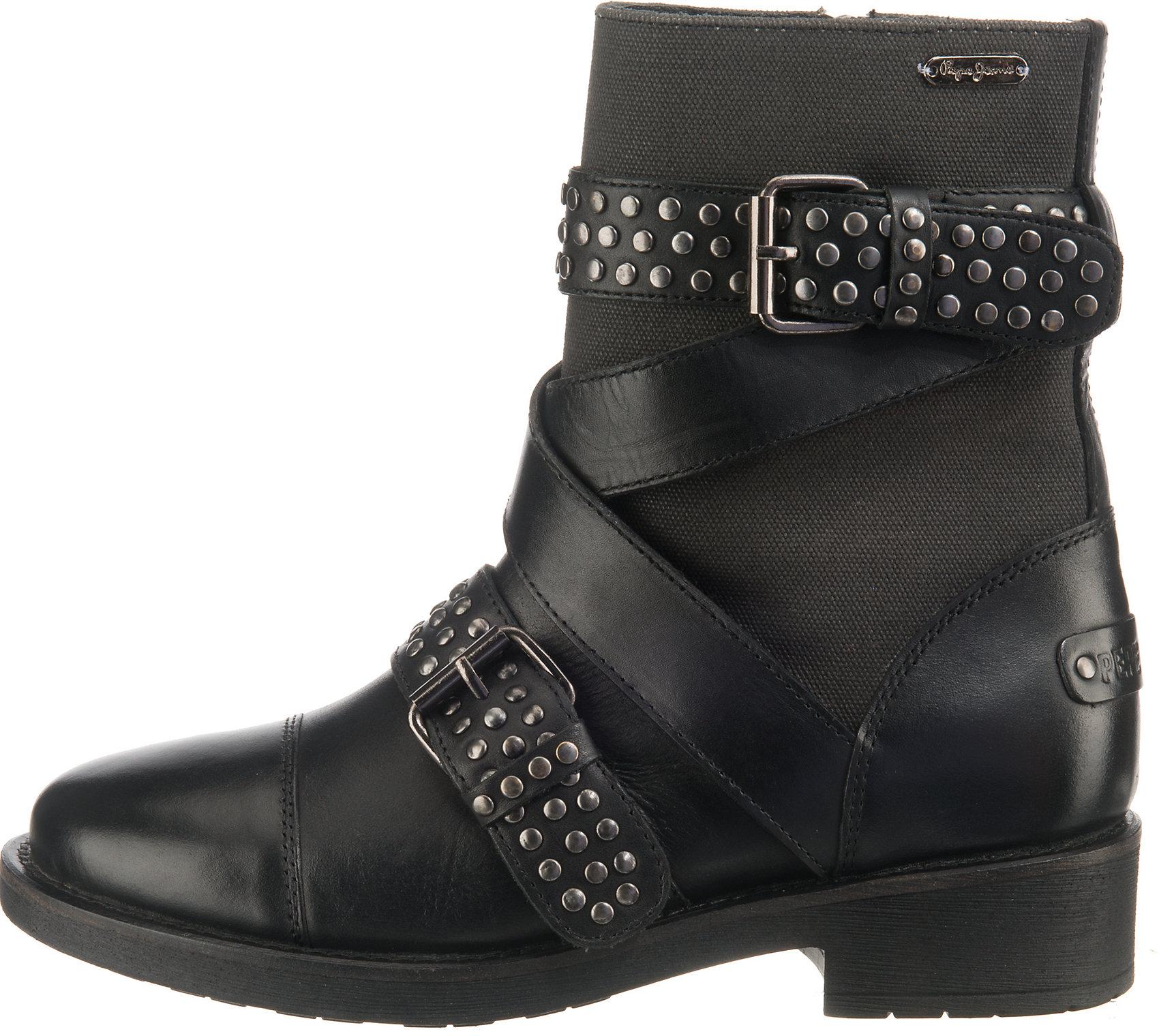 Pepe Jeans London Damen Hellen Open Stiefel, Schwarz (Black
